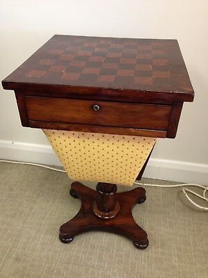 Antique Victorian workbox / sewing box / games table