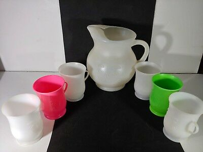 Vintage white plastic Kool aid pitcher and 6 cups