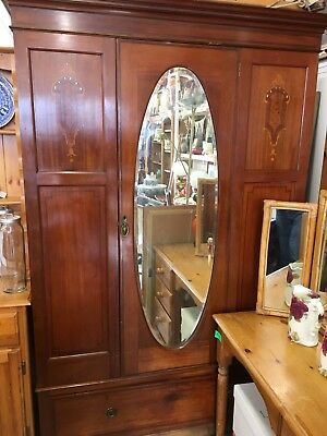 Antique / Edwardian 3 piece wardrobe - inlaid panels, original mirror
