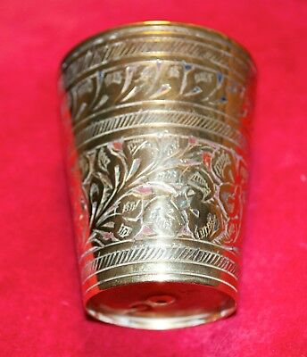 Vintage Indian Asian Lassi Cup Solid Brass Hand Etched Size 2 Made India Enamel