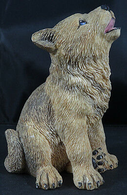 "Vintage GRAY WOLF PUP Howling Figurine Resin Composite Hand Painted 3"" Tall"