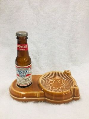 1960's Budweiser Miniature Bottle Souvenir Ceramic Ashtray
