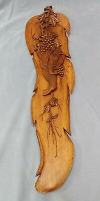 "Hand Carved Wood Panel Pheasants Grapes 38"" Long"