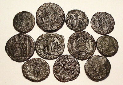 Lot of 11 Æ3-4 Ancient Roman Bronze Coins from IV. Century