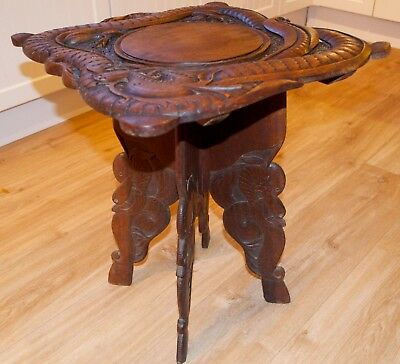 Antique Rose Wood Chinese Dragon Table Jardiniere Folding Table