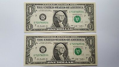 2009 $1- One Dollar Note/Bill- Lot  Of 2 Consecutive- Crisp - Lightly Circulated