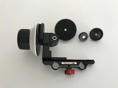 Zacuto follow focus with 3 focus wheels and whip