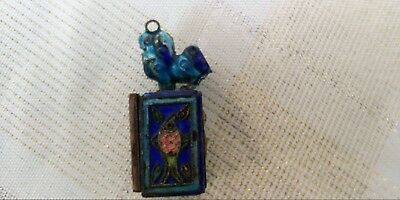 Small Cloisonne Opium Box with Slide Door and two brass panels