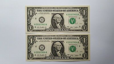 2009 $1 NEW One Dollar Bill Consecutive Uncirculated Crisp New Sequence