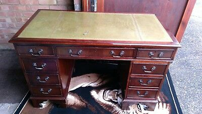 Vintage Green Leather Topped Writing Desk