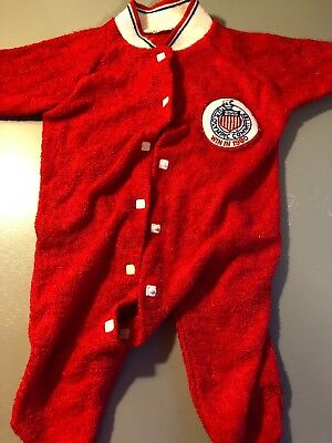Vintage U.S. Olympic Committee WIN IN 1980 Red Terry Cloth Infant Sleeper Dolls