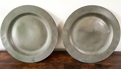 Antique 2 Large 17thc 18thc Pewter Plate Chargers Pair touch marks hallmarks