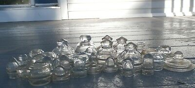 Lot Of Thirty (30)  Antique Glass Bottle And Jar Lids-Stoppers-Tops