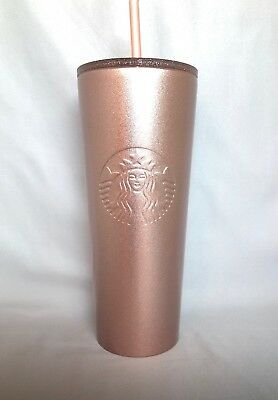 Starbucks Rose Gold Glitter Stainless Steel Cold Cup 24-Venti Oz 2018. NWT!