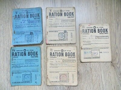 Five original Ministry of food Ration Books 1946-51