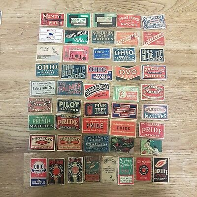 97 different early American / USA matchbox labels