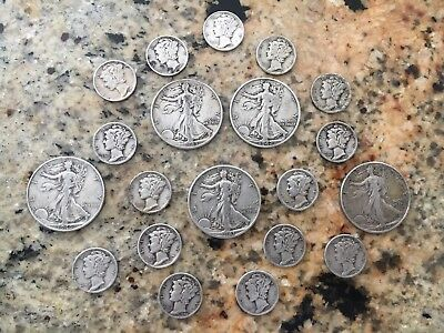 Walking Liberty Half Dollars, Mercury Dimes, 90 Silver, 4 Face; Lot 02