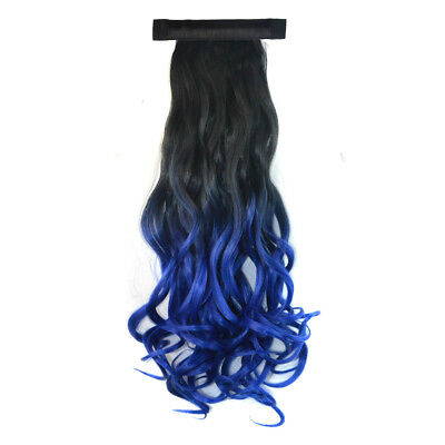 20'' Long Curly Two Tone Clip In Ponytail Hair Extensions Black + Sapphire Blue