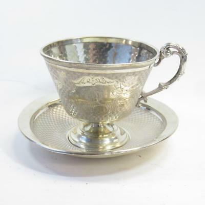 Hallmarked Vintage Ornate European 800 Silver Art Nouveau Teacup and Saucer, 78g