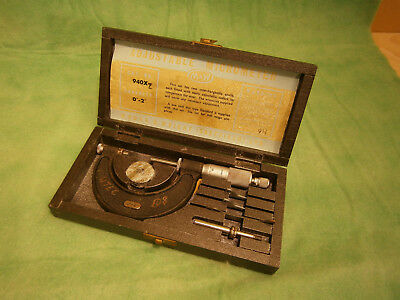 """Moore and Wright 0-2"""" Adjustable Outside Micrometer. No.940z. Cased."""