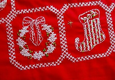 """Vibrant Red Vintage Cross Stitched Christmas Tablecloth Great Cond 57"""" diameter"""