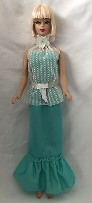 Vintage Superstar Barbie Doll TAGGED Genuine Fashion 2784 TURQUOISE Dress TOP
