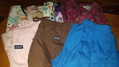 Scrub Pants and Tops XS Extra Small Lot of 3 Pants and 5 Tops Mixed brands