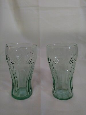 A NEW set of 2 Genuine Coca-Cola Green Glass Cup Drink Vintage Coke NEW 6 OZ