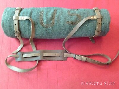 """Leather Bed Roll Carrier with 74"""" adjustable sling and two 30"""" straps"""