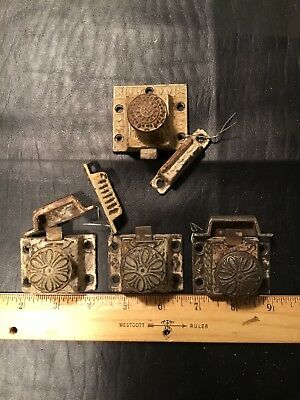 4 Cast Iron Latch Vintage Turn Type Cabinet Knob/lock With Catches
