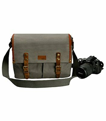 6333554ca53 ZLYC Unisex Vintage Genuine Leather and Canvas Camera Bag Messenger Bag  (Grey)
