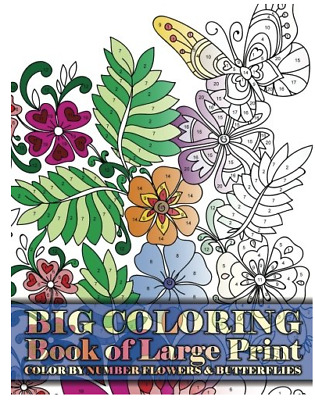 Fun Creative Art Relax Print Coloring Book By Number Flowers & Butterflies Adult