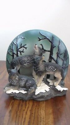 Howling Wolf Figurine Three Wolves With Night Forest Snowscape Background