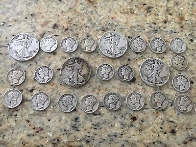 Mercury Dimes, Walking Liberty Half Dollars, 90 Silver, 4 Face; Lot 03