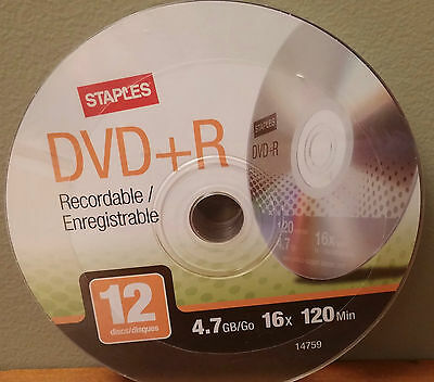 New Staples DVD+R Recordable, 12 pack, 4.7GB