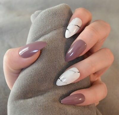FALSE NAILS - Mauve, White Stone Marble - Glue On - The Holy Nail