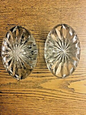 Stunning Pair of Antique Large Heavy Oval Cut Glass Doorknobs with Star-Burst