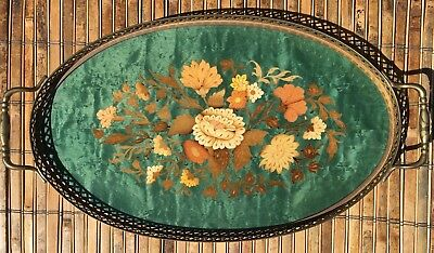 Stunning Exc. Vintage Sorrento Italian Inlaid Wood Marquetry Oval Serving Tray