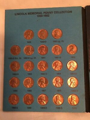 1959 - 1982 Complete Lincoln Memorial Penny Collection