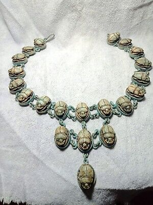 A rare pharaonic necklace studded with 21 scarabs of Egyptian civilization