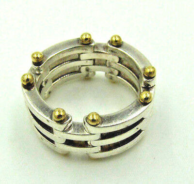 Genuine Tiffany & Co. Sterling & 18K Yellow Gold Gate Link Ring Band -Size 6 1/2