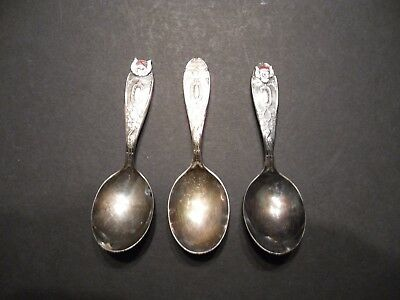 3 pc William Rogers Silver Plate Baby Birth Record Spoons
