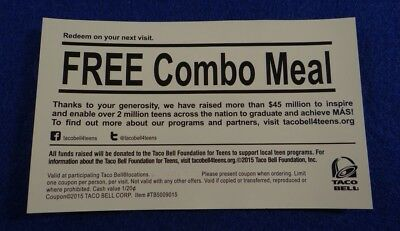 (4) Taco Bell Combo Meal Gift Certificates EXPIRES 12-31-19