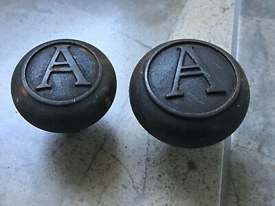 Antique Door Knob Set with Letter A - Old Vintage Ornate