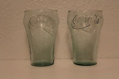 Vintage Two Indiana Glass Coca Cola Green Pebbled Glass, 32 oz.
