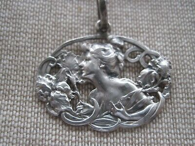 Antique Art Nouveau Sterling Victorian Pendant Lady W/flowers Repousse