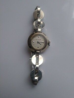 Vintage Art Deco LeCoultre Solid 14K Gold Round Case Link Band Ladies Watch