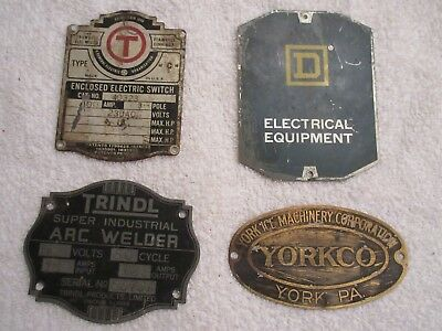 vintage machine tin name plates advertising brass and aluminum lot of 4 lot 9