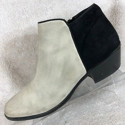 e3ac50f81c70f Sam Edelman Petty Dirty Ivory Leather Round Toe Side Zip Ankle Boots Women s  6