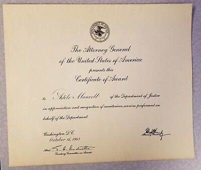 Robert Kennedy signed autographed Attorney General's office award, October 1963